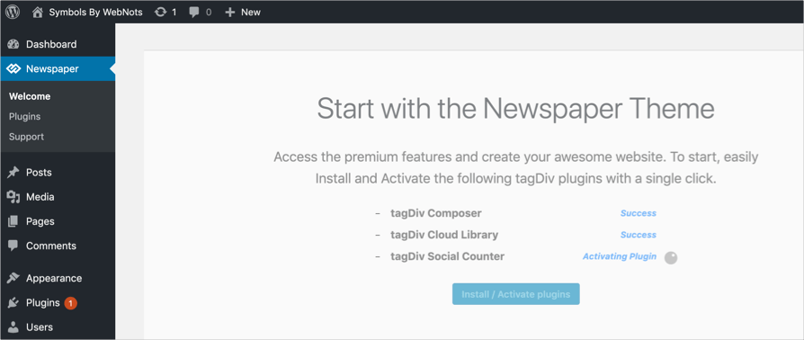 Activating plugins with newspaper theme
