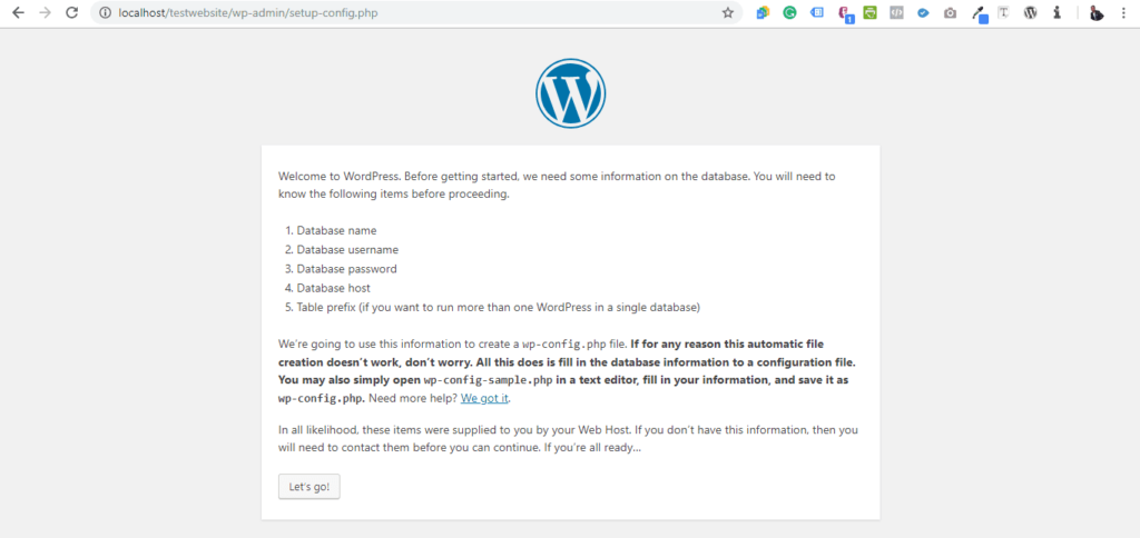 installing wp on localhost