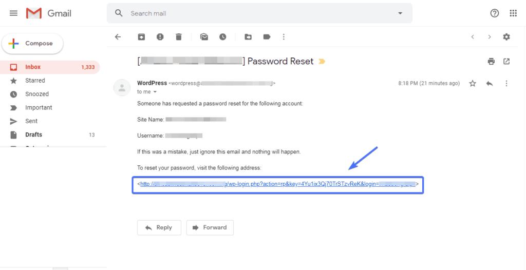 password reset link in email