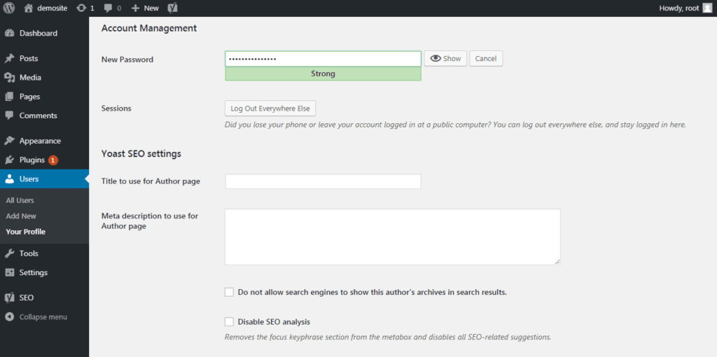 Setting up a password for user account control