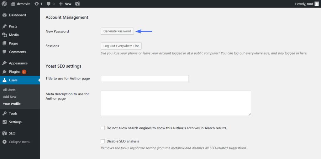 Create password for user profile