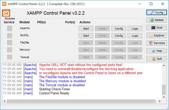 xampp error