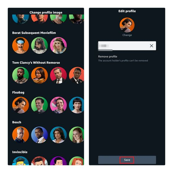 So we can change the profile image on Amazon Prime Video from any mobile device.