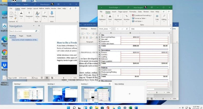 Example of several desktops running at the same time.