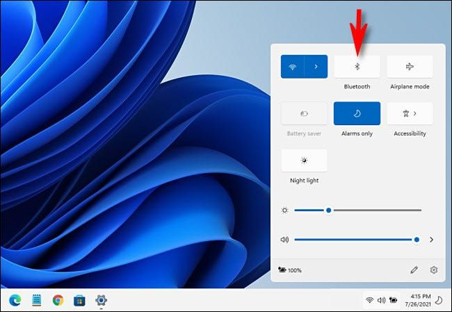 That's how easy it is to activate Bluetooth in Windows 11 from the quick settings.