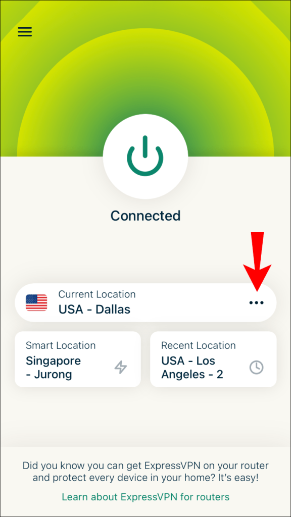 Select location to have a new IP address.