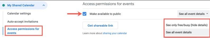 How to publicly share Google calendar.
