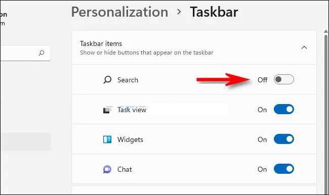 Hide search button on Windows 11 taskbar.