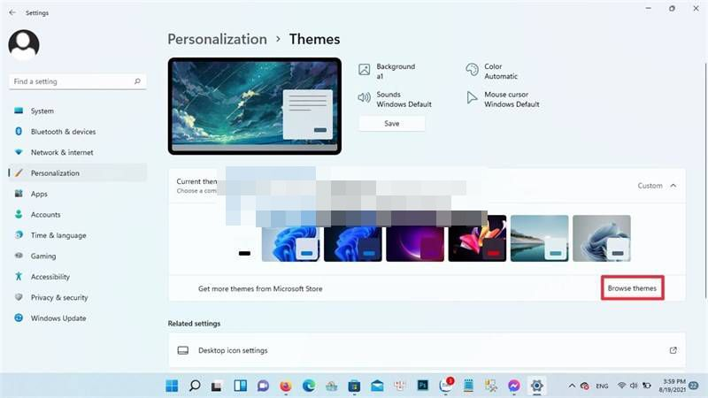 Find more themes in Microsoft Store.