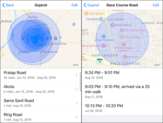 Here we can find the location history on an iPhone and also on an iPad.