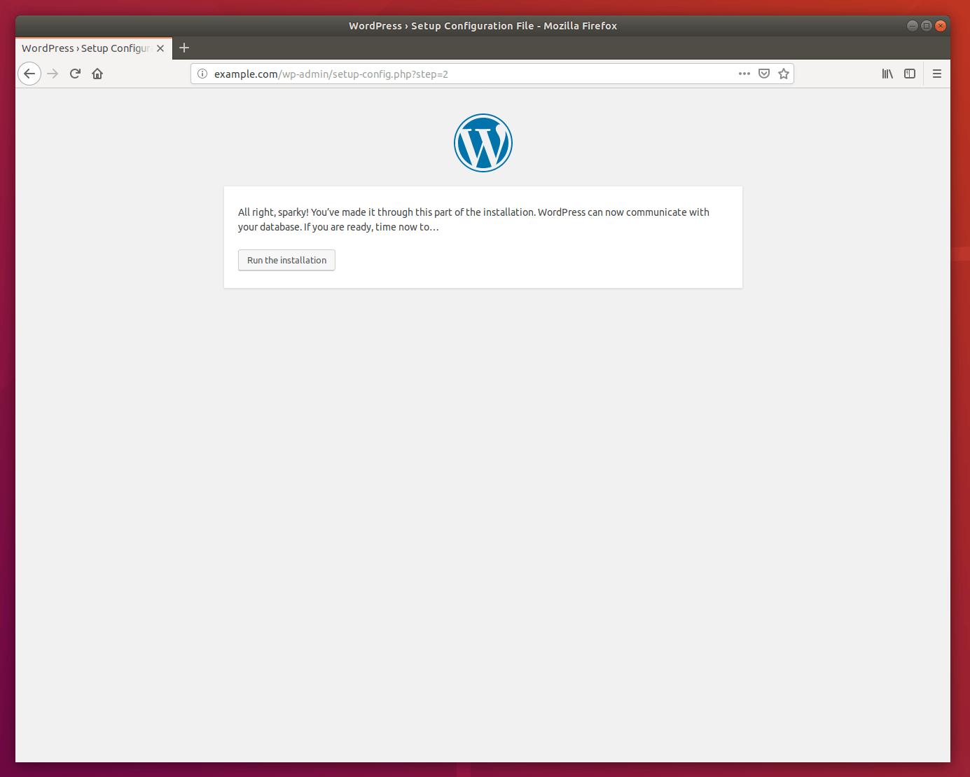WordPress Ubuntu installation