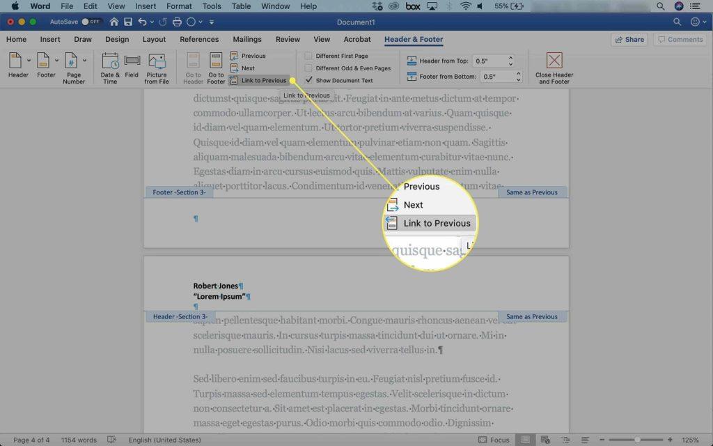 Block header edit Word 2