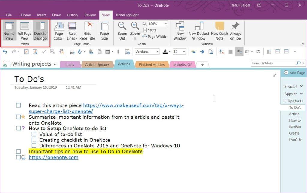 create Outlook OneNote 2 tasks