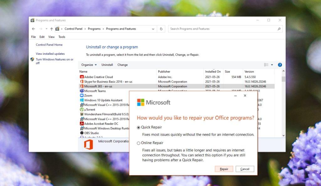 Repair Microsoft Outlook.