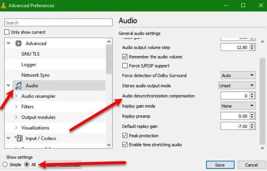 Change VLC audio desync offset