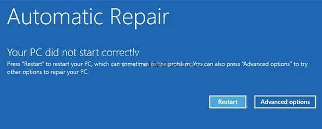 Automatic repair to fix the error PC did not start correctly.